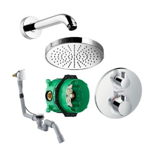 Abacus Temptation Thermostatic Concealed Shower Kit With Round Shower Head And Bath Kit
